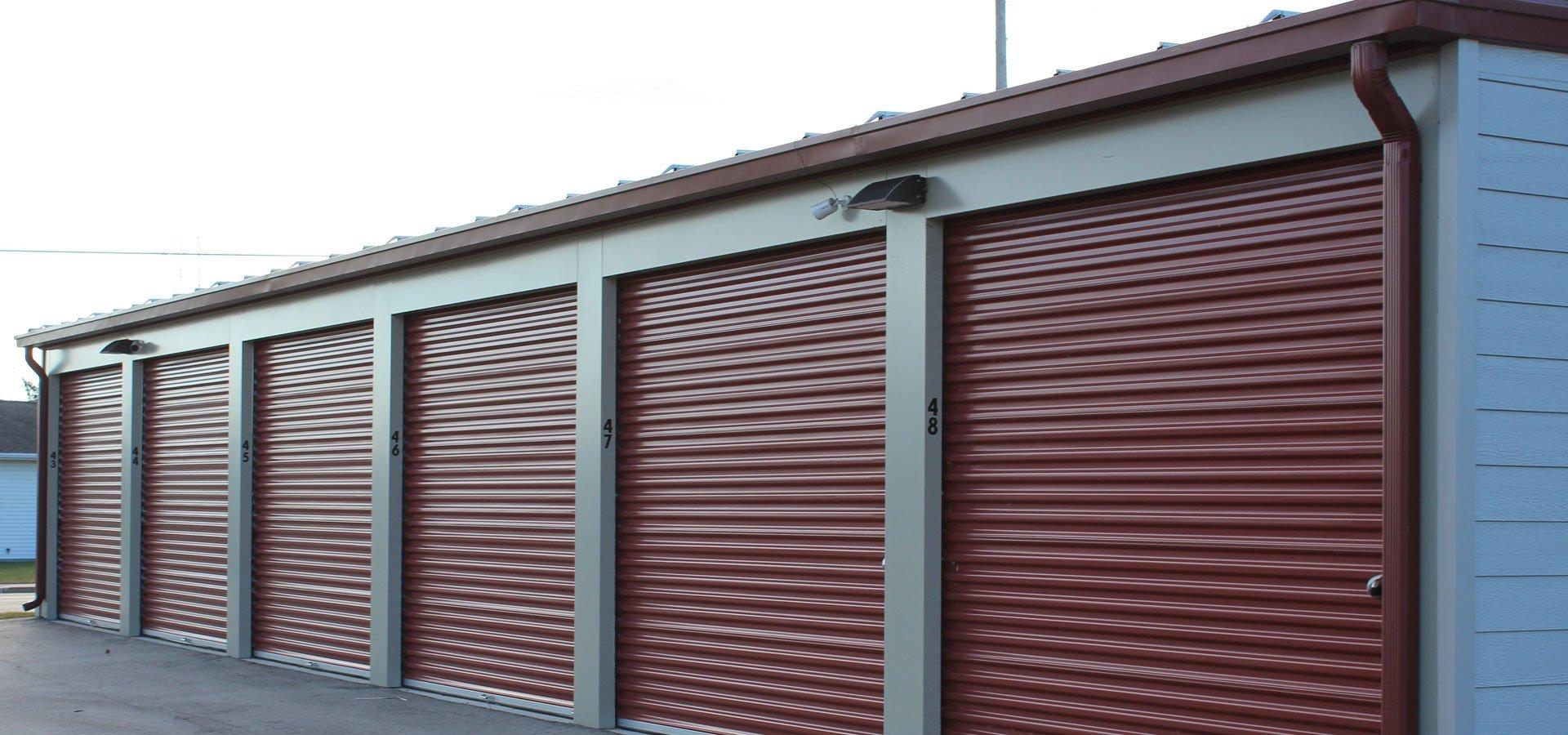 Butler Manufacturing pre-engineered metal buildings storage close up exterior shot of closed garage doors