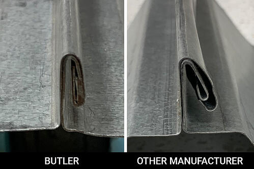 ACE Butler Roof Panel Pittsburg Seam compared to other manufactured seam.