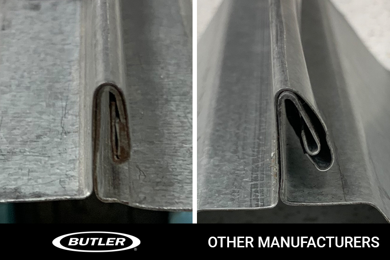 A side-by-side comparison image shows the difference between Butler and other manufacturers' roof panel double lock seams.