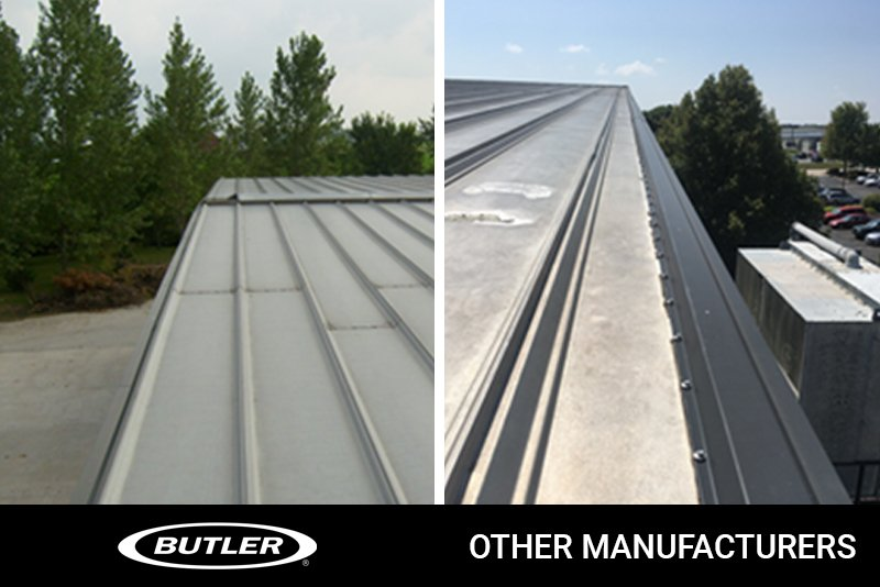 Two silver colored metal roofs are pictured side by side showing the difference in gable trim.