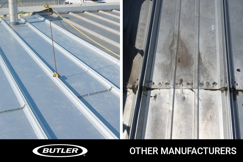 Two silver-colored metal roofs side by side shows the roof panel details, and the difference between Butler and other manufacturers.
