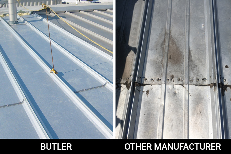 ACE-Roof-Panel-Splice-Butler-metal-roofACE Butler Roof Panel Splice compared to another manufactured roof panel splice