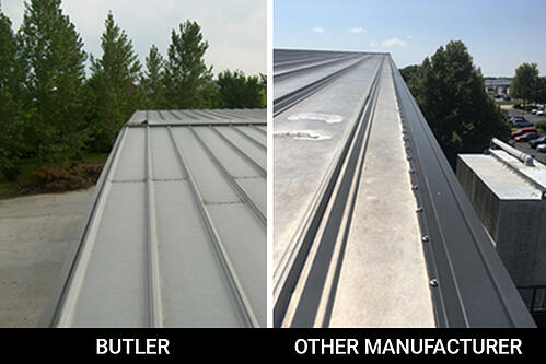 A.C.E. Building Service uses gable trim for their Butler manufactured metal roofs rather than hundreds of fasteners and bolts