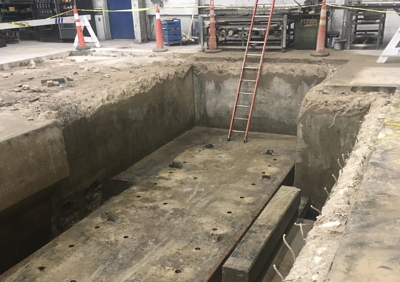 Material handling and special projects from ACE Building Service include Boring bar foundation and machine bases such as this one being put in a shop floor