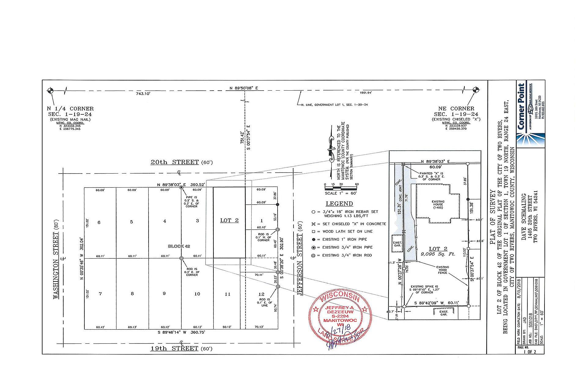 Schmaling Plat of Lot Survey | ACE Building Service