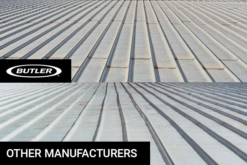A comparative photo shows the visual difference between a Butler MR-24 metal roof system compared to other manufacturers.