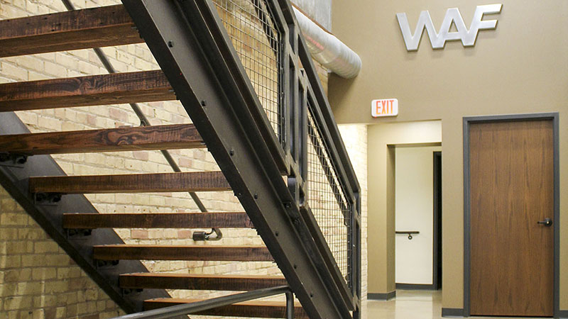 Wisconsin Aluminum Foundry custom salvaged wood staircase